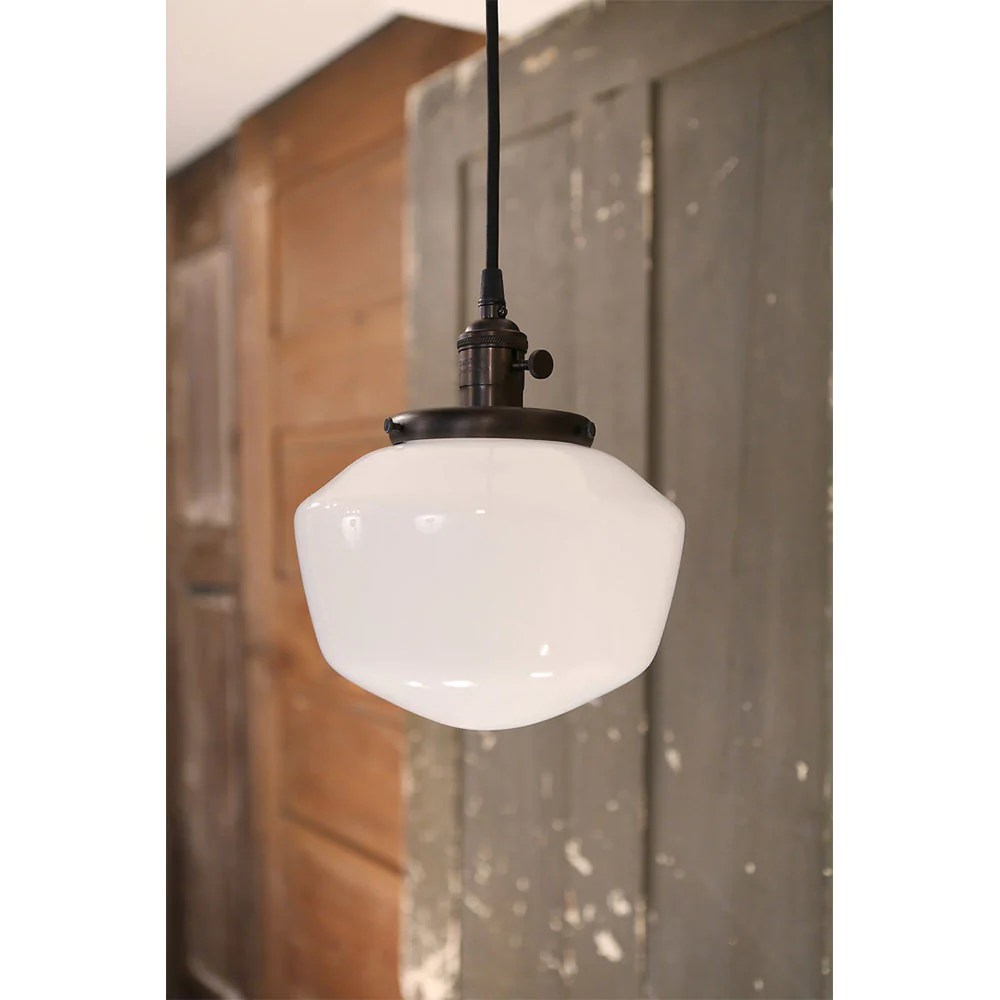 modern opal schoolhouse style glass fixture oil rubbed bronze hardware 8 inch genuine hand blown in the usa