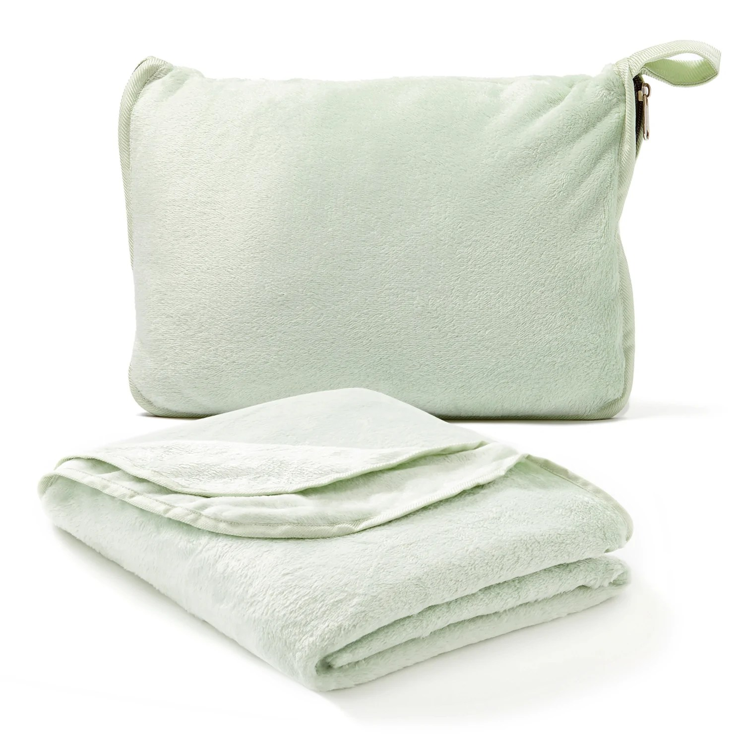 travel blanket and pillow set 2 in 1 soft plush airplane blanket with hand luggage strap