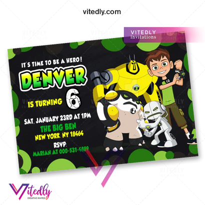 ben 10 birthday invitation with free