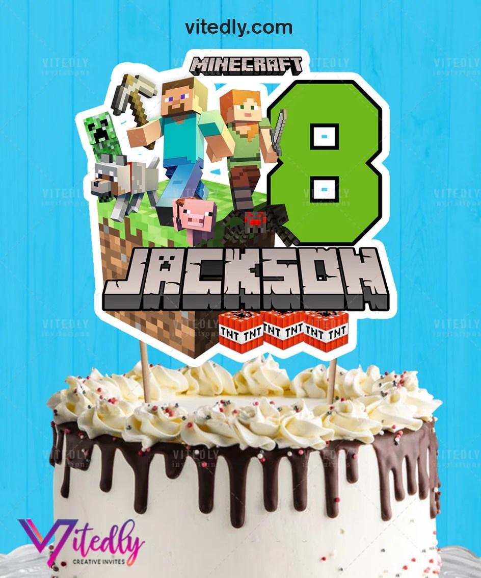 Minecraft Cake Topper Minecraft Birthday Cake Topper Vitedly