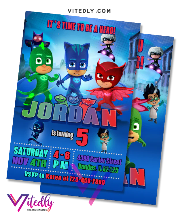 pj mask invitation with free thank you card