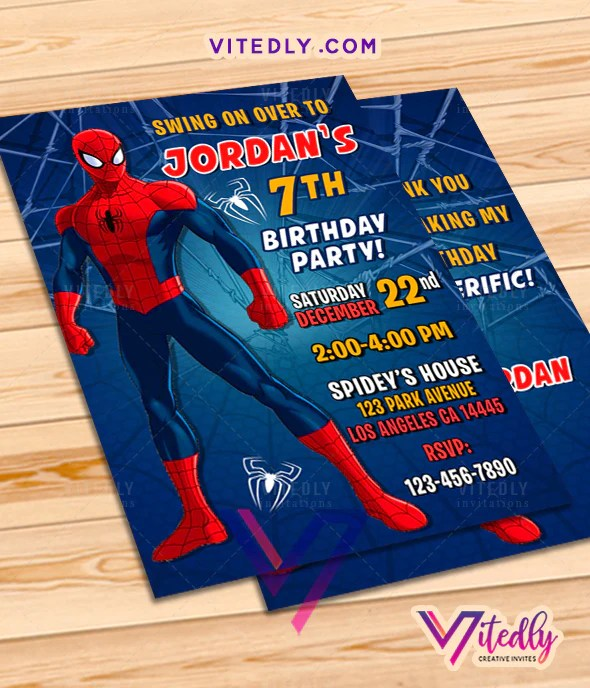 spiderman invitations with free thank