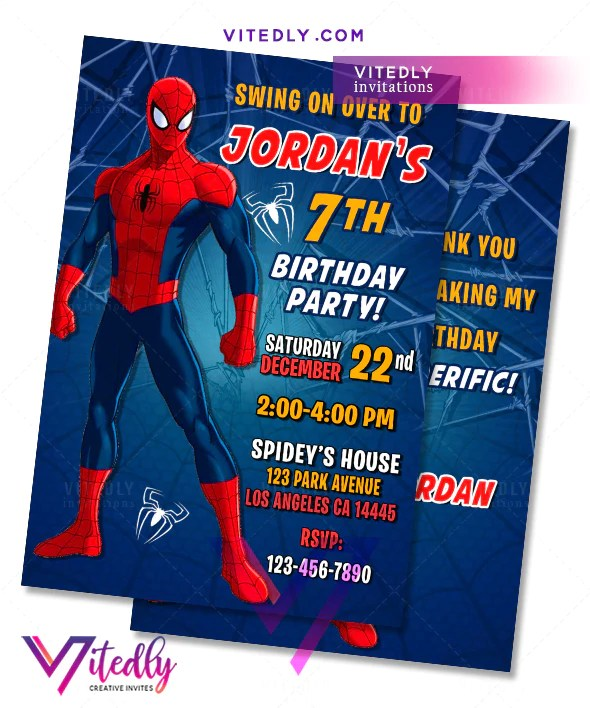 spiderman birthday invitations spiderman invitations with free thank you card