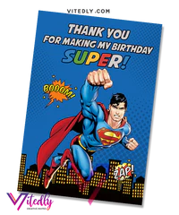 superman invitation with free thank you