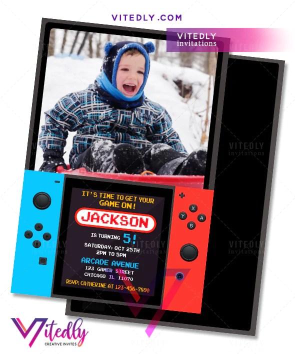 video game birthday invitation