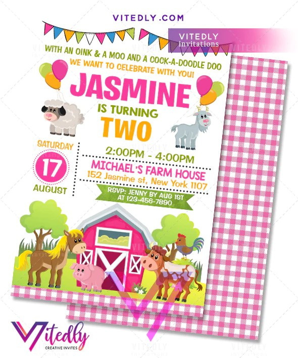farm theme party invitations for girls
