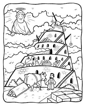 tower of babel coloring page # 2