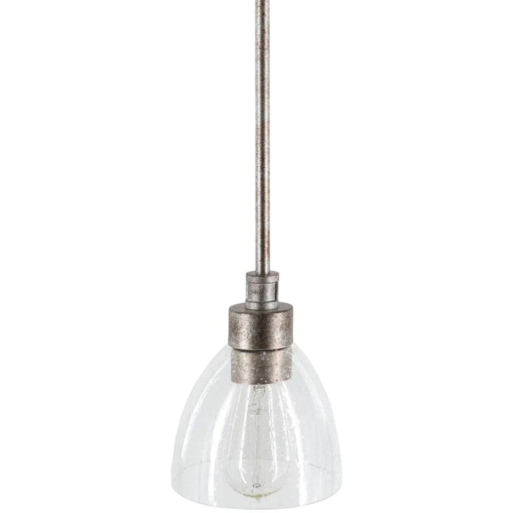 1 light farmhouse distressed silver seeded glass mini dome pendant