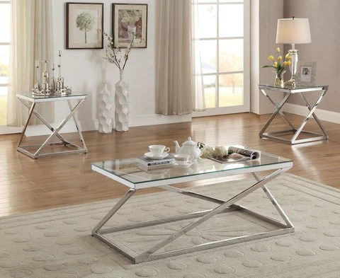 chrome coffee table set