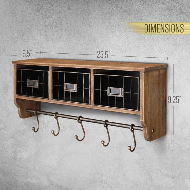 24 rustic wall mounted coat rack with