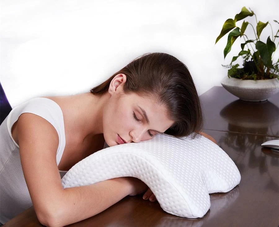 upillow zero pressure memory foam pillow tunnel shaped sleep arm cudd dealjestic