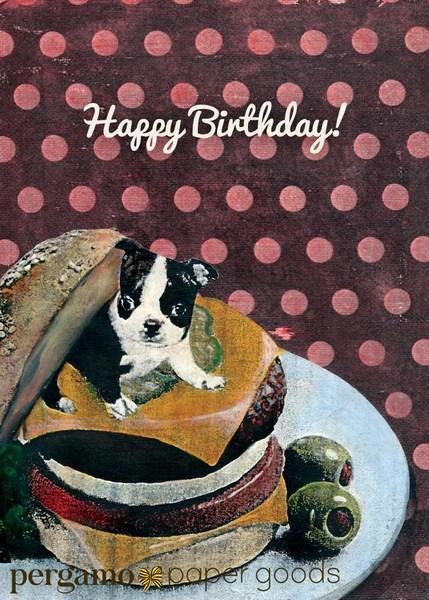 Mixed Media Animal Art Boston Terrier Birthday Card Pergamo Paper Goods