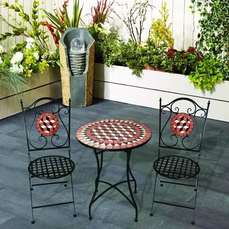 3 piece mosaic bistro patio garden furniture set