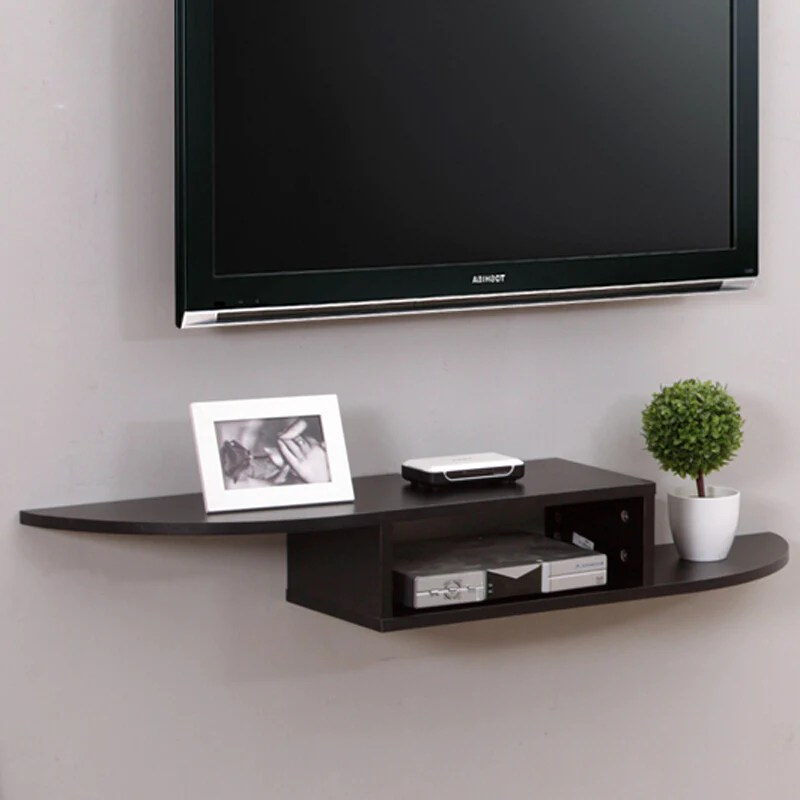midas set top box wall tv cabinet rack rack shelf wall hanging wooden black 110cm 12535