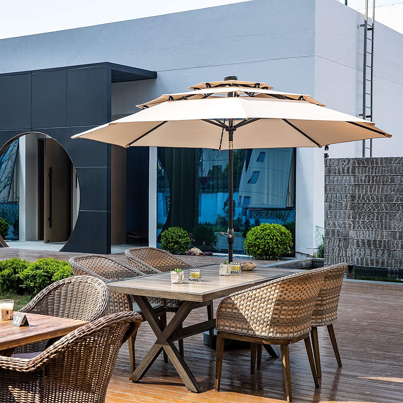 sku ob otu010 10 feet outdoor triple top patio umbrella with solar powered led lights