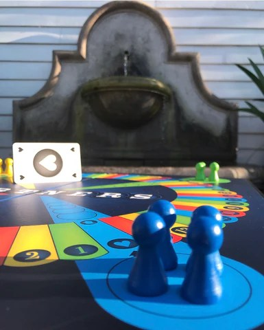 Artsy picture of Partners Boardgame for review.