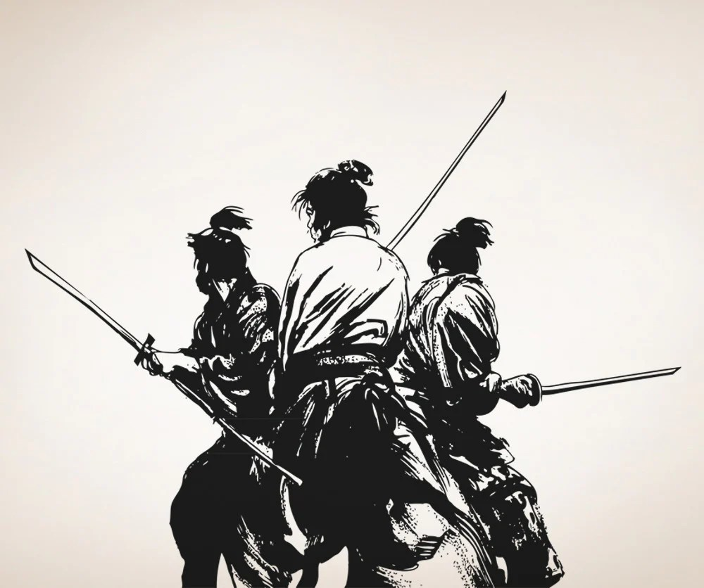 Vinyl Wall Decal Sticker Fighting Samurai 5037