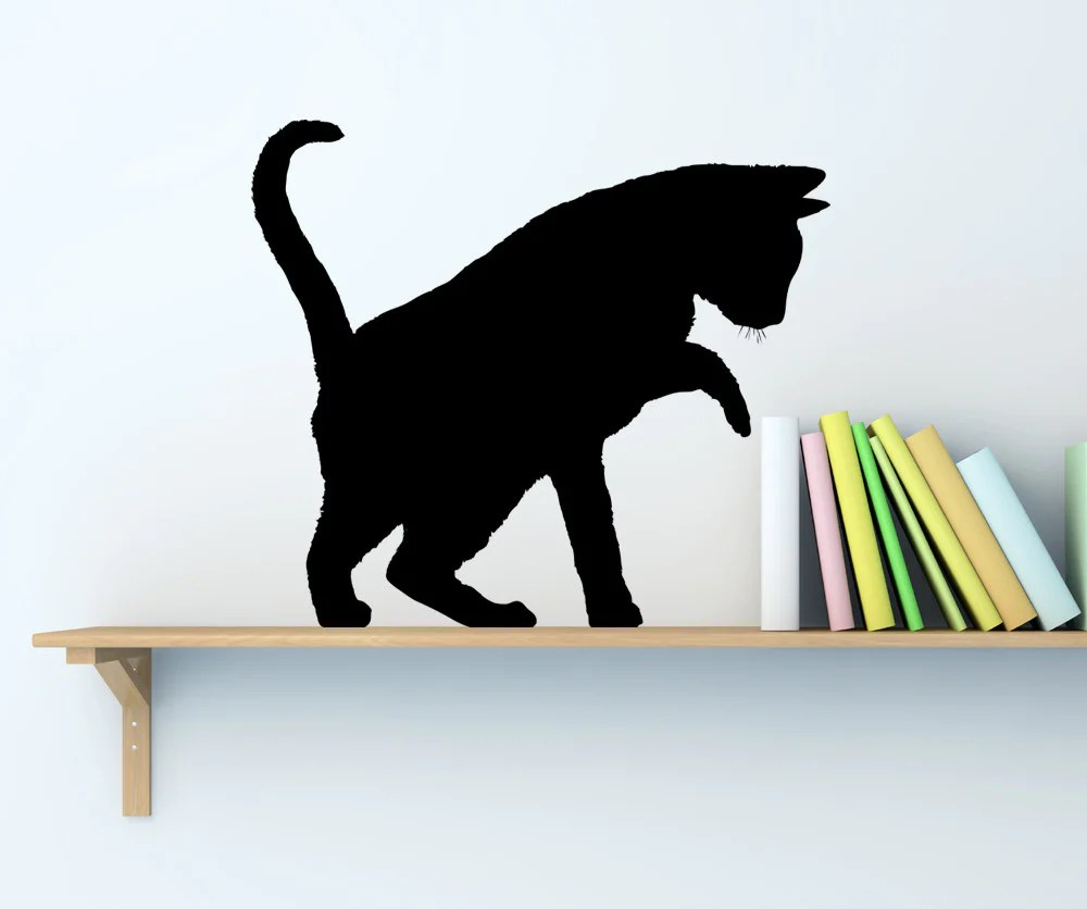 Vinyl Wall Decal Sticker Playful Cat Shadow AC199