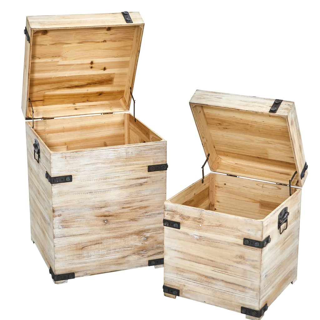 Decorative White Wash Storage Boxes Trunks With Metal Detail Set Of 2 Nearly Natural