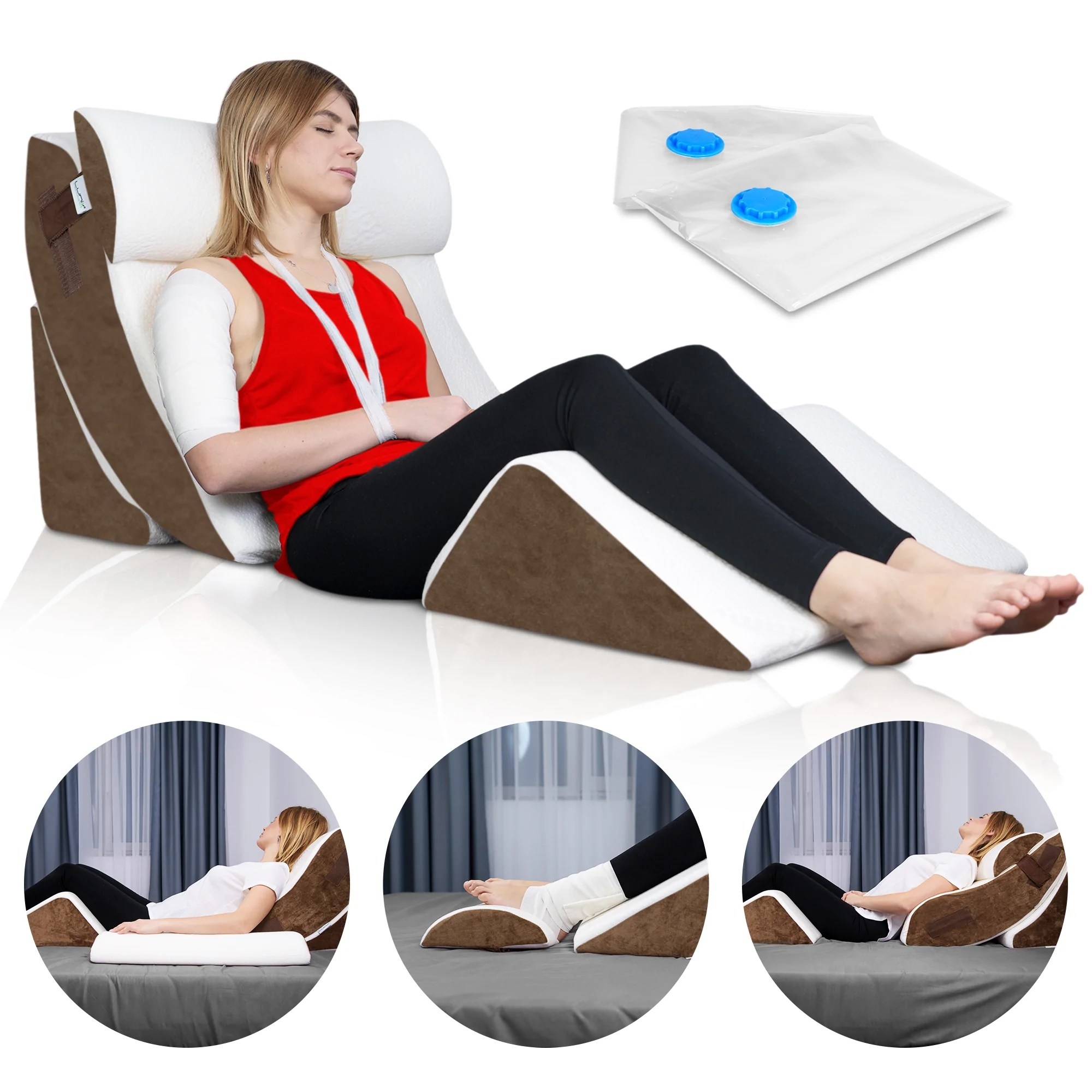 lunix 4pcs orthopedic bed wedge pillow system brown