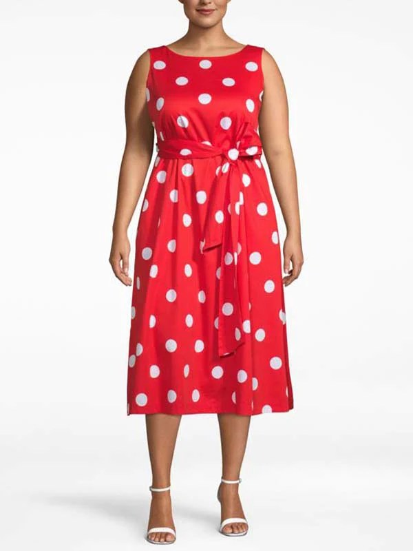 Poppy White Polka Dot Fit-And-Flare Dress