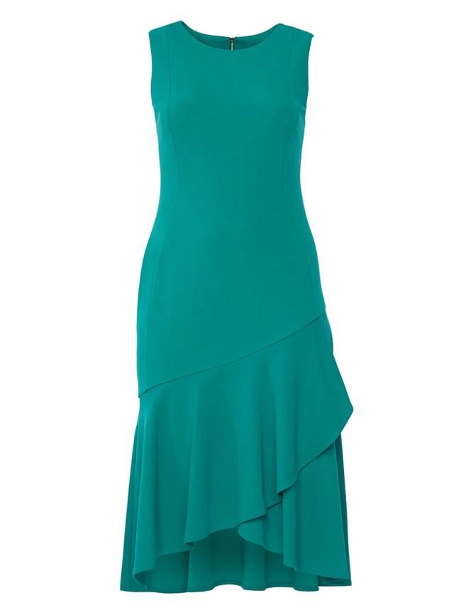 Meadow Green Sleeveless Crepe Midi Dress