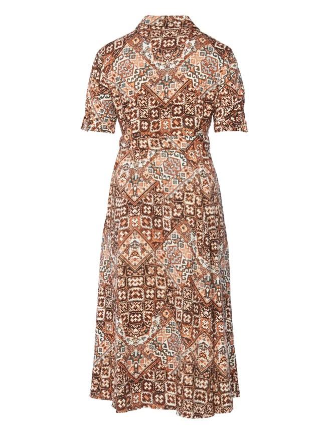Caper Ikat Print Button Front Dress