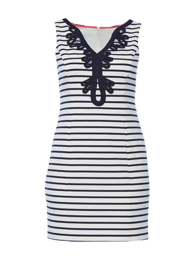 Nautical Navy Striped Embrodiery Detail Dress