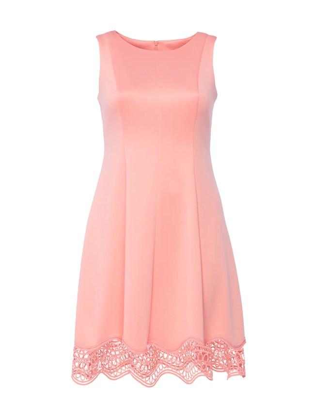 Light Pink Lazer Hem Fit-And-Flare Dress