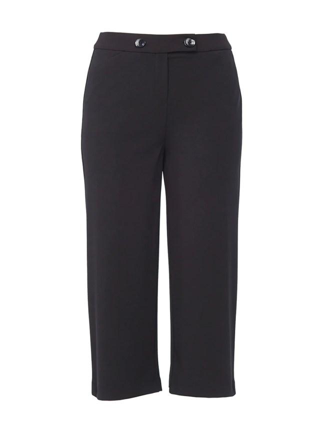 Button Waist Wide-Leg Crop Pants