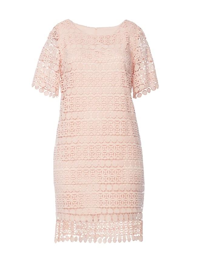 Peach Lace Shift Dress