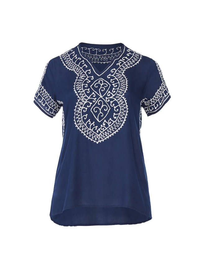Embroidery Detail Navy Top