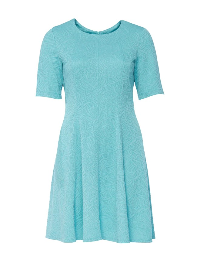 Aqua Textured Jacquard Fit-And-Flare Dress