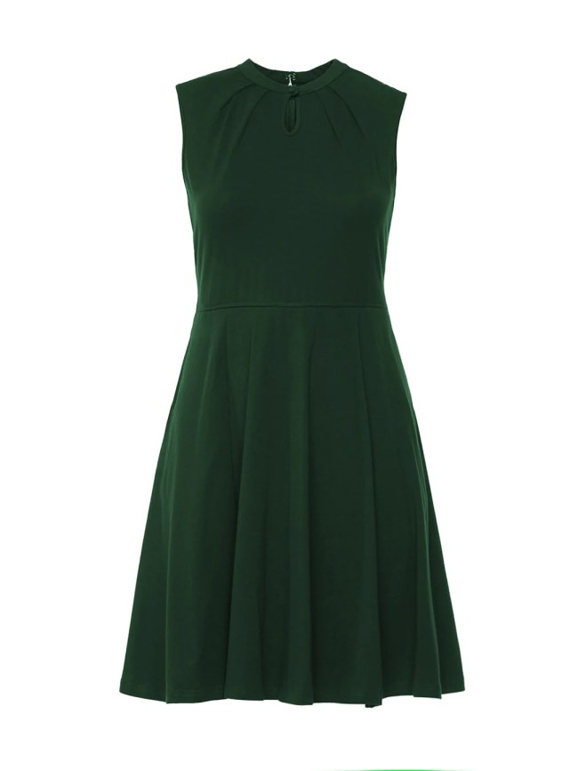 Keyhole Green Fit-And-Flare Dress