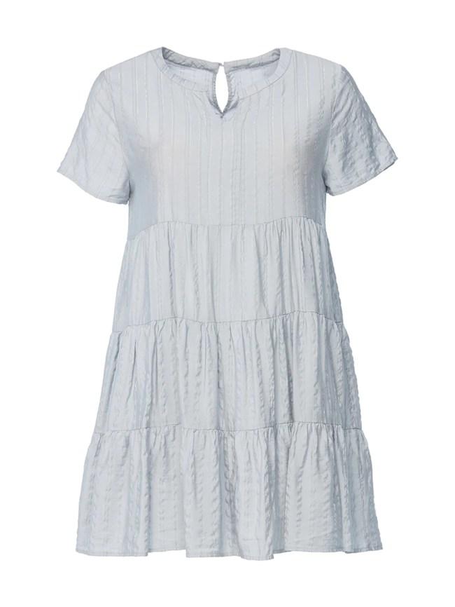 Metallic Striped Tiered Dress