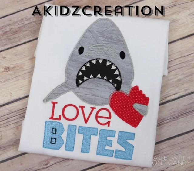 Download Love Bites Shark Applique - AKidzCreation