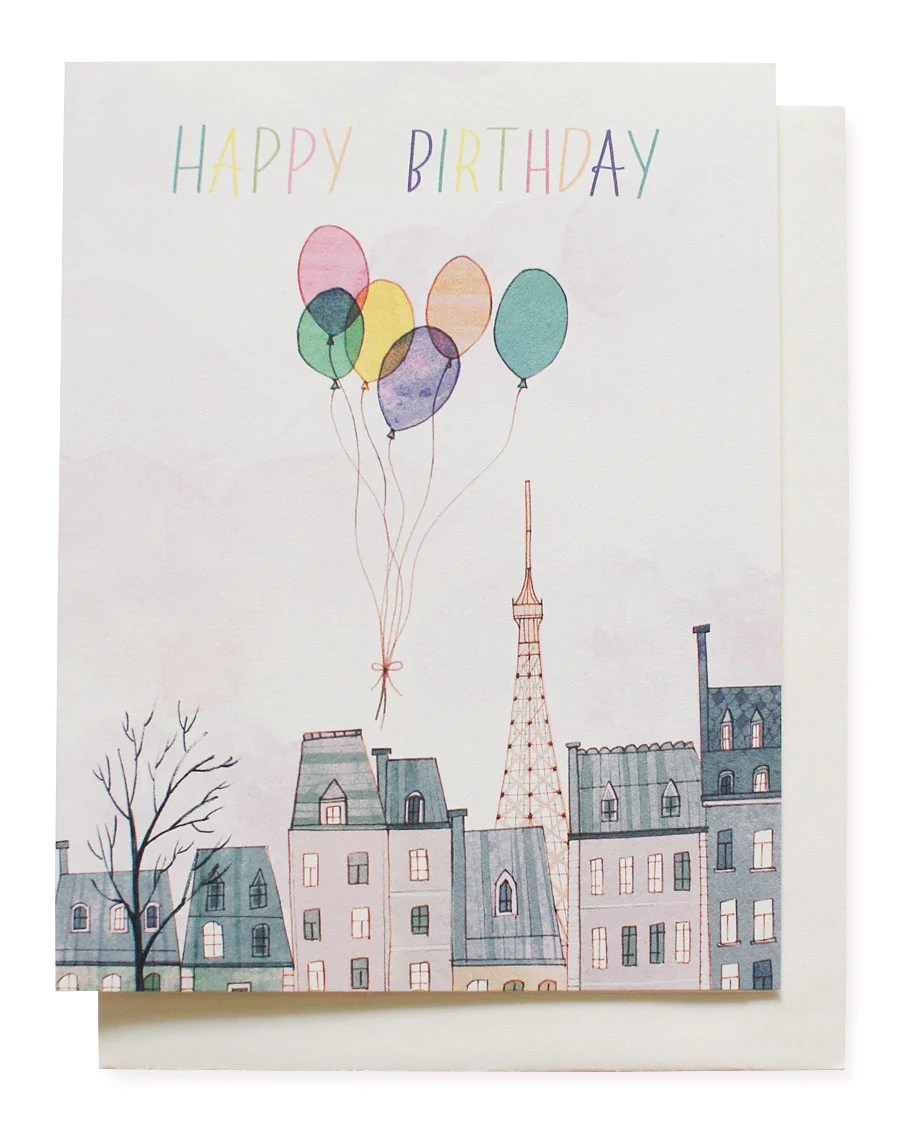 Paris Balloons Birthday Card Mignon