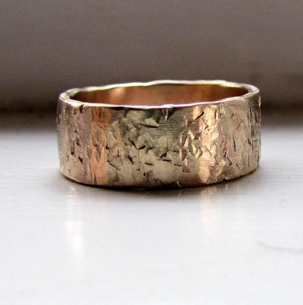 Mens Wedding Band 14k Gold Unique Rustic Distressed