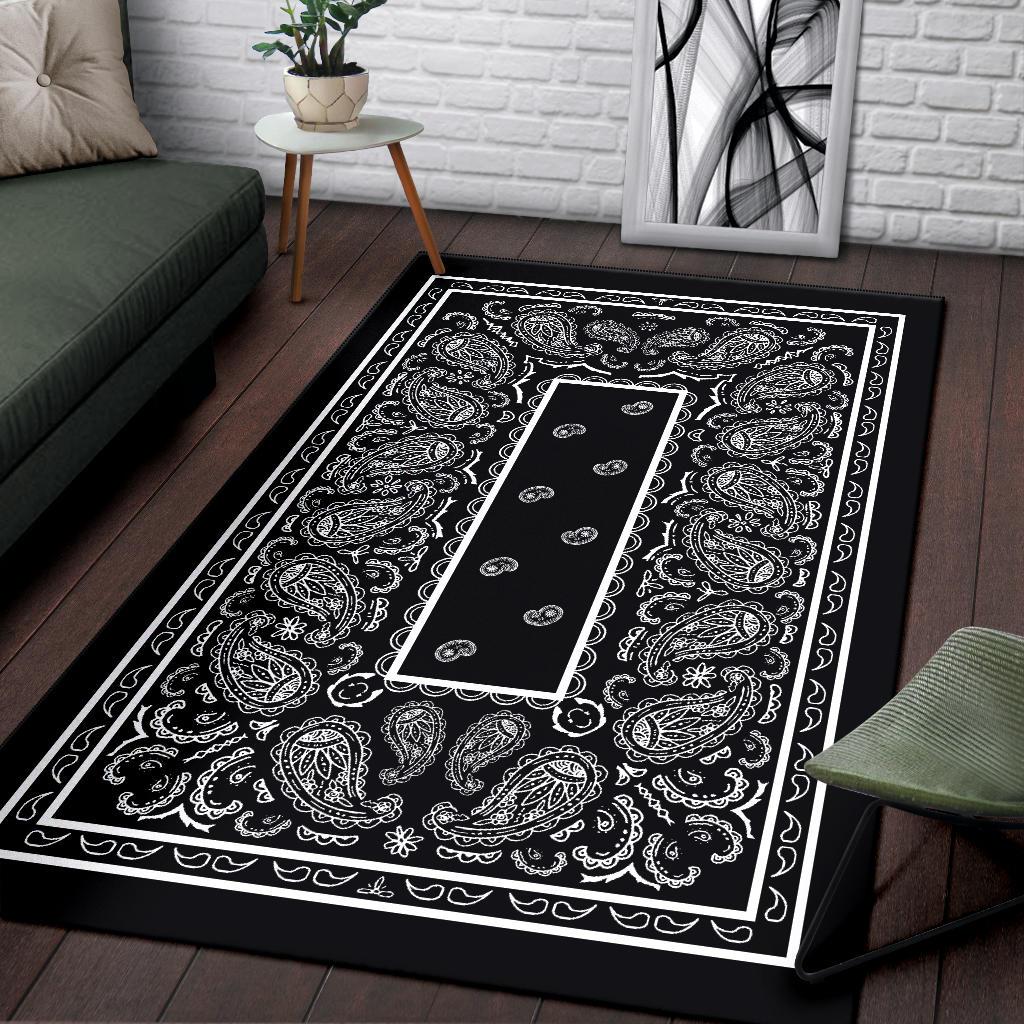 Black Bandana Area Rugs The Bandana Blanket Company