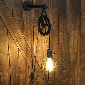 Industrial Pipe and Pulley Lamp