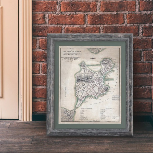 Colonial Boston Vintage 1775 Map Print   Liberty Maniacs Colonial Boston Vintage 1775 Map Print