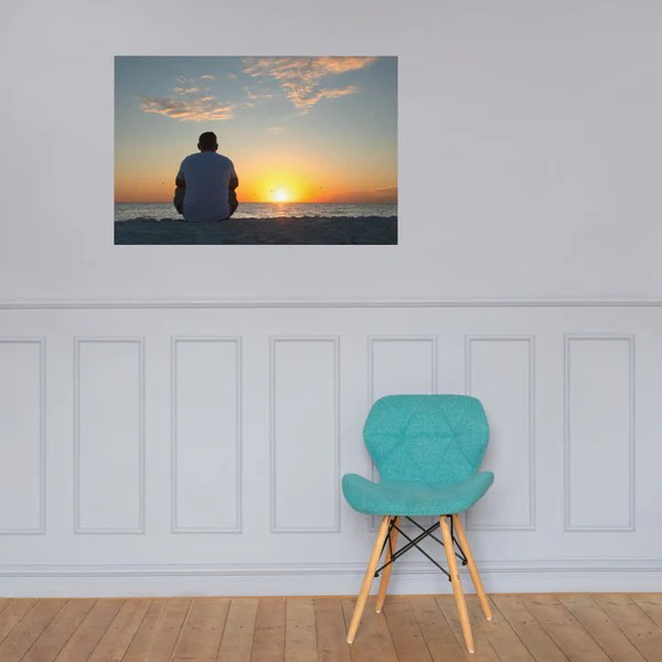 Reflections of The Day Coastal Sunset landscape photograph as a loose (unframed) wall art print poster