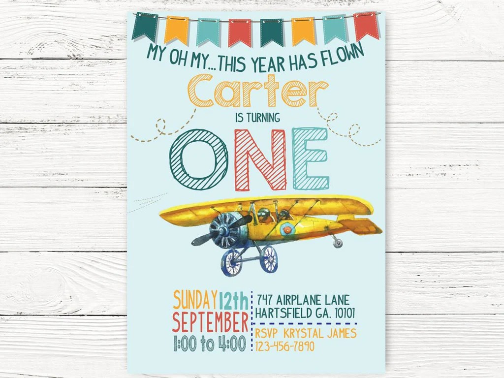 vintage airplane first birthday airplane invite adventure begins party airplane pilot themed party first birthday invitation c130