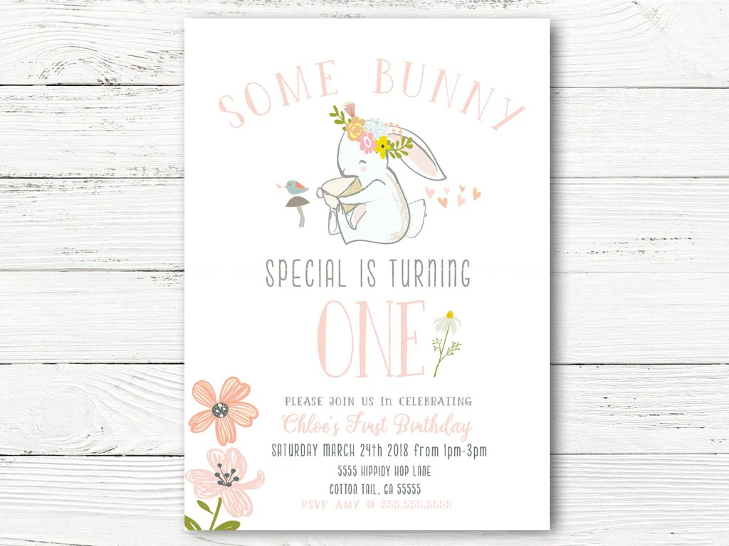 1st birthday invitations some bunny special is one