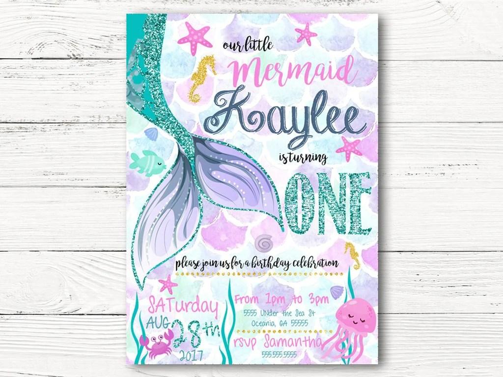 Mermaid Birthday Invitation Under The Sea Party Purple Mermaid Invitation Mermaid 1st Birthday Little Mermaid Mermaid Card Artist Trading Cards Art Collectibles