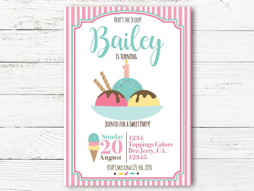 Print At Home Pink Ice Cream Party Digital Invitation Birthday Invitation Ice Cream Birthday Party Invitation Girl Birthday Party Paper Paper Party Supplies