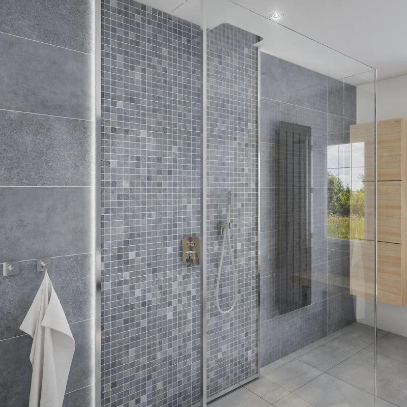 large premium mosaic blue shower panel 1 0m x 2 4m