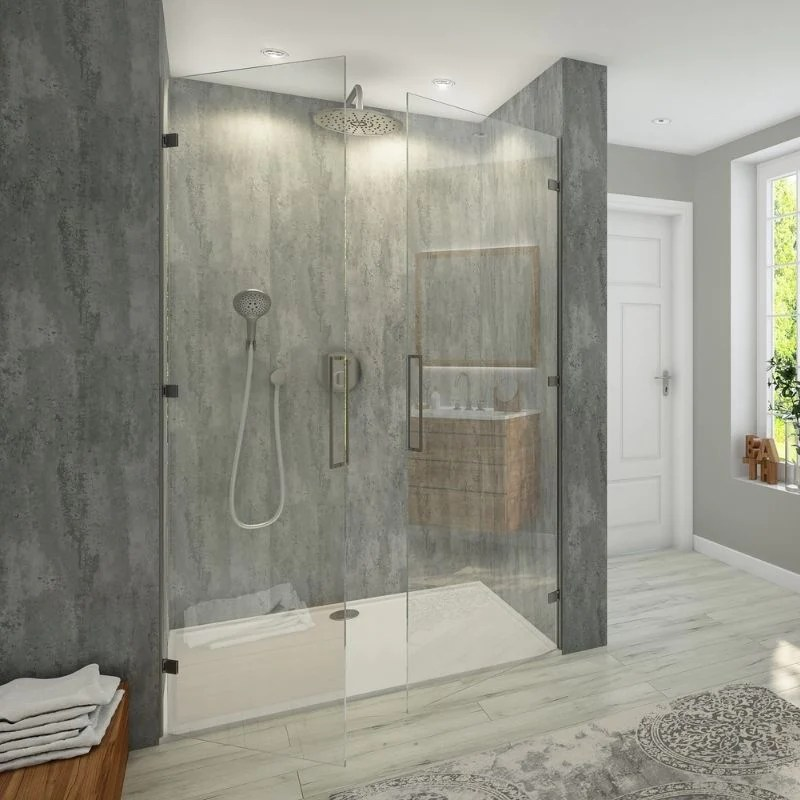 large brushed silver shower panel 1 0m x 2 4m