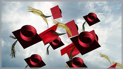 Grad Cap Toss Red Choice Slides