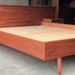 Refinished Mcm Teak Platform Bed W Floating Nightstands